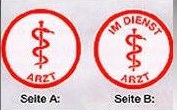 Autoplakette weiß/rot, Tropfenform - Saarmed Medizinbedarf GmbH Onlineshop
